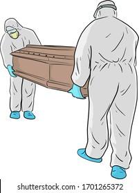 Die Männer im PSA-Anzug (Persönliche Schutzausrüstung) tragen die Kaffeemaschine für die Entsorgung von Vektorillustration-Skizze-Doodle-handgezeichnet einzeln auf weißem Hintergrund. Covid-19 Situation.