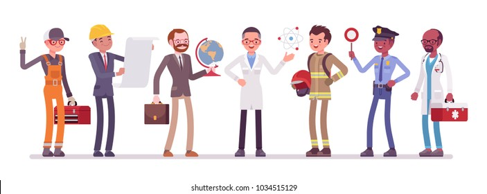 Men professions set. Male collection of occupation, training and qualification poster, choice to make after school or college. Vector flat style cartoon illustration isolated on white background