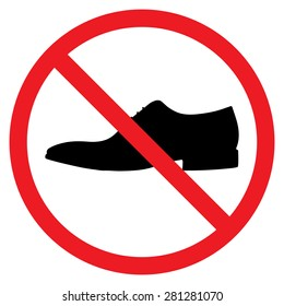 men prohibited, not for men - sign. Men shoe icon. Red prohibition sign. Stop symbol.
