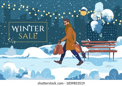 Men with purchases on an evening winter background. Big sale, Black Friday, Christmas and New Year Shopping. Cute vector illustration in cartoon style.