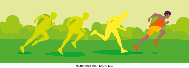Men running in park. Park, trees on green background. Banner, site, poster template. Flat style vector illustration.