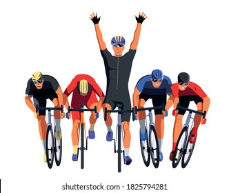 Men s bicycle race. Cyclists at the finish line are fighting for the victory. Final sprint front view. Athletes on bikes are finishing the race and pushing each other with elbows. Vector flat design