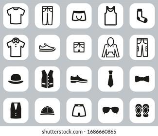 Men s Clothing & Accessories Icons Black & White Flat Design Set Big