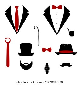 Men s tuxedo. Mustache, monocle, beard, pipe and top hat. Weddind suits with bow tie and with necktie. Vector illustration