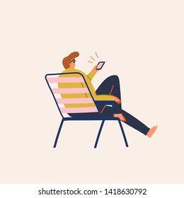 Men searching a job, shopping and buying on line tickets, planning travel, using  mobile app vector illustration.