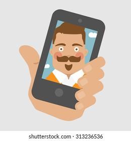 Men selfie