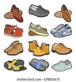 Men shoes boots types vector flat isolated icons set