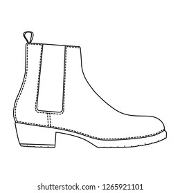 Men shoes classical boots isolated. Male man season shoes icons. Technical sketch. Footwear vector illustration