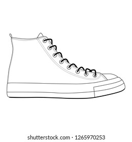 Men shoes high top sneakers isolated. Male man season shoes icons. Technical sketch. Footwear vector illustration