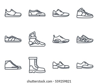 men shoes and sneakers sneakers line icon