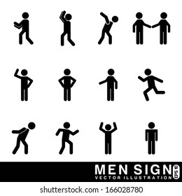 men sign over white background vector illustration