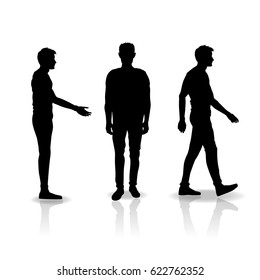 Men silhouettes isolated on white background. Standing man, walking man and handshake man.