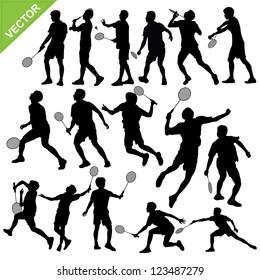 Men silhouettes play Badminton vector
