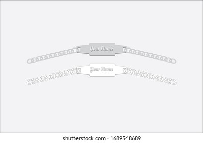 Men Silver Chains or Bracelets Black and White Vector Format