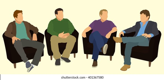 Men Sitting in Arm Chairs In A Meeting