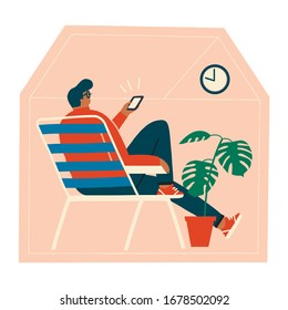 Men sitting in the chair at home, browsing internet by phone, staying connected with people on line in social distancing time during virus epidemic illustration in vector.