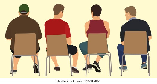 Men Sitting in Chairs Viewed from Behind