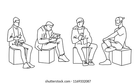 Men sitting in different poses. Black lines on white background. Concept. Vector illustration of various men sitting on cubes in line art style. Monochromatic hand drawn sketch.