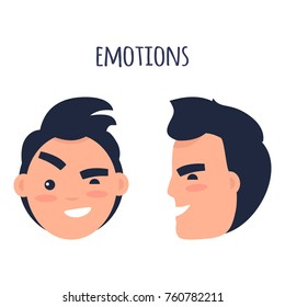 Men skeptic emotions concept. Brunette male face in full face and profile with sarcastic facial expression flat vector isolated on white. Condemning man emotive portrait for icon, avatar illustration
