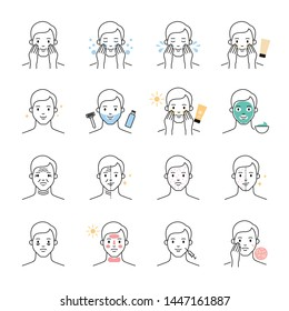 Men skin problems and care, beauty treatment vector icons set