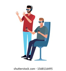 Men with smartglasses design, Augmented reality virtual technology device and modern theme Vector illustration