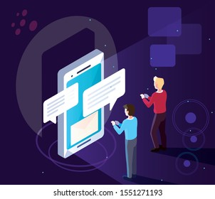 men with smartphone screen and mobile applications vector illustration design
