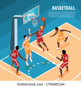 Men in sports uniform playing basketball 3d isometric vector illustration