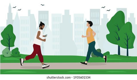 Men in sportswear run in the city park. People do outdoor sports together.  Healthy lifestyle. Vector illustration in a flat style.