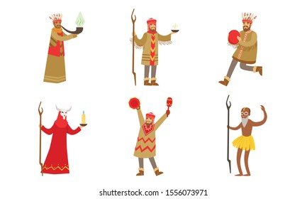 Men in suits of shamans. Vector illustration.