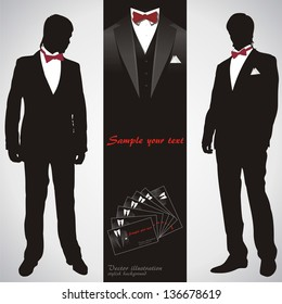 Men in suits. Stylish background. Vector illustration.