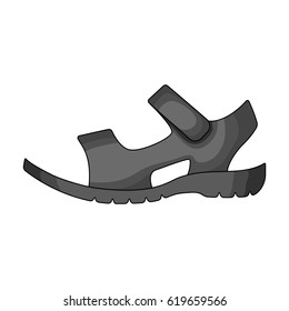 09f77f5b5c728 Men summer brown leather sandals on a bare foot.Different shoes single icon  in monochrome