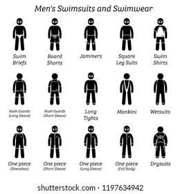 Men swimsuits and swimwear. Stick figures depict different types of swimming suits fashion wear by man or male.