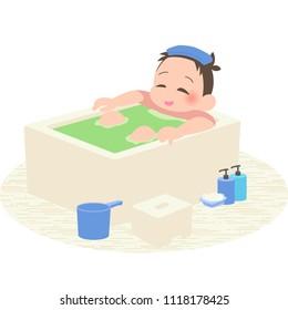 Men takes a bath.