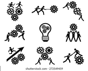 men teamwork gears pictogram icons set