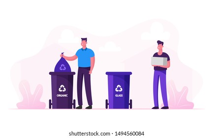 Men Throw Garbage into Special Containers with Recycle Sign for Plastic and Organic Litter. Special Bins for Collecting Trash. Recycling and Earth Pollution Concept. Cartoon Flat Vector Illustration