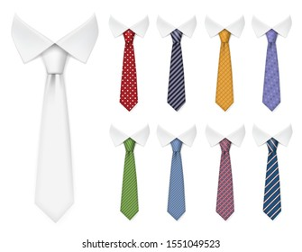 Men ties. Fabric clothes items for male wardrobe elegant style ties different colors and textures vector realistic mockup collection