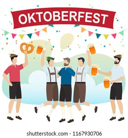 Men in traditional Bavarian clothes celebrate beer festival Oktoberfest. Friends in tracht and lederhosen have fun at the Oktoberfest. Vector
