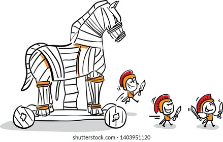 Men with Trojan horse. hand drawn doodle line art cartoon design character - isolated vector illustration outline .