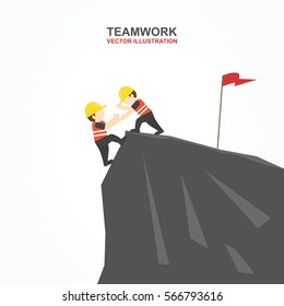 Men try to help their friend to climb the cliff. Vector illustration.