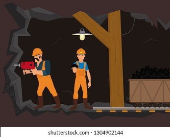 men in uniform work underground mining coal. Vector graphics