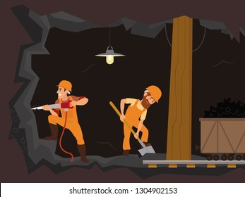 men in uniform work underground mining coal. Vector graphics
