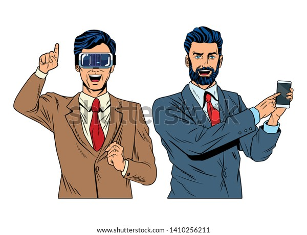 men with virtual reality headset and cellphone avatar cartoon character vector illustration graphic design