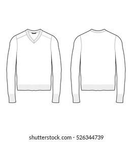 Men V-neck Sweater Template