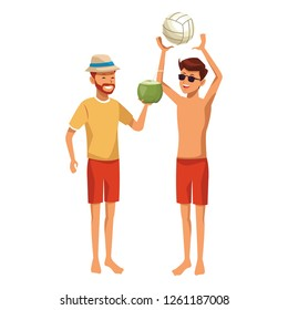 men with voleyball ball and coconut
