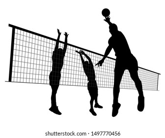Men volleyball match silhouette illustration