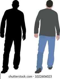 men walking away - vector illustration