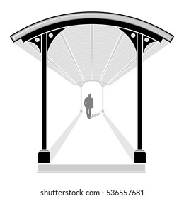 Men walking in covered walkway with leading lines, vector illustration