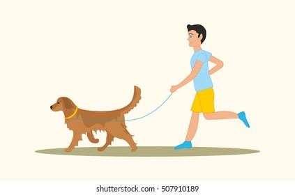 Men walking the dog golden retriever breed. Vector illustration isolated on white background