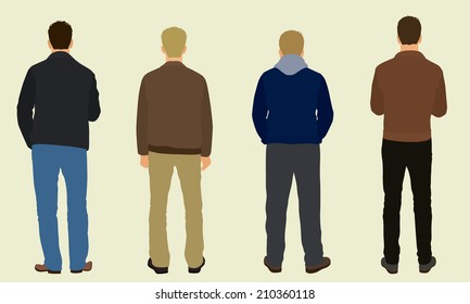 Men Wearing Jackets & Pants Viewed from Behind