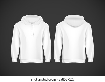 Men white hoody. Realistic mockup. Long sleeve hoody template on background.